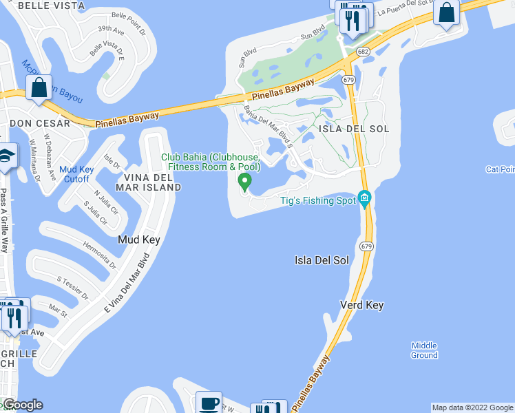 map of restaurants, bars, coffee shops, grocery stores, and more near 6287 Bahia Del Mar Circle in St. Petersburg