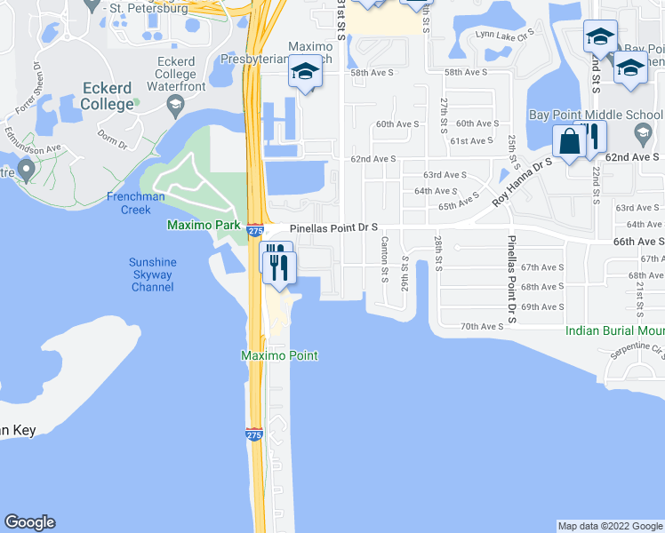 map of restaurants, bars, coffee shops, grocery stores, and more near 6600-6678 31st Way S in St Petersburg