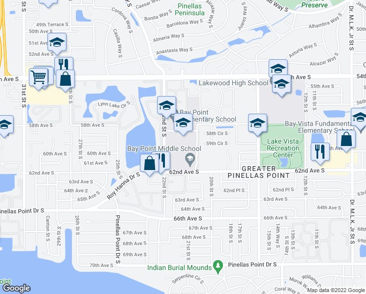 map of restaurants, bars, coffee shops, grocery stores, and more near 2151 62nd Ave S in St Petersburg