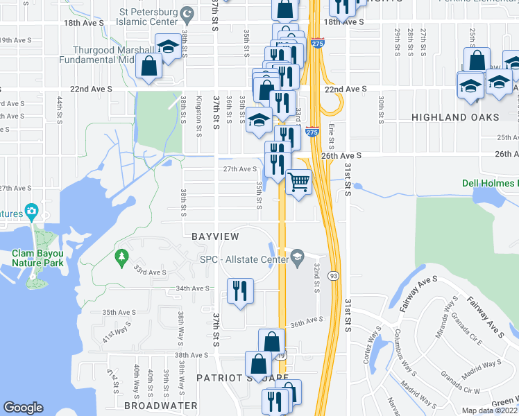 map of restaurants, bars, coffee shops, grocery stores, and more near 35th St S & 29th Ave S in St Petersburg