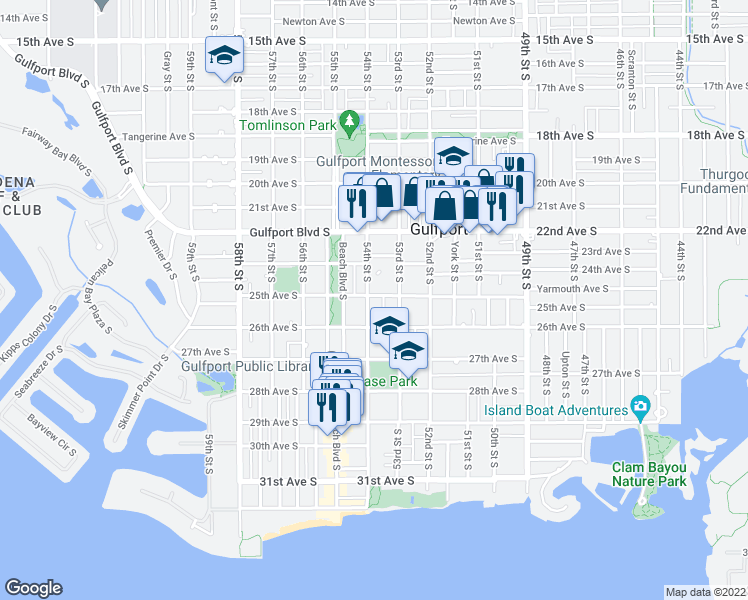 map of restaurants, bars, coffee shops, grocery stores, and more near 4715 26th Avenue South in Gulfport