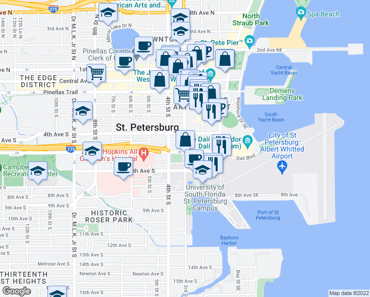 map of restaurants, bars, coffee shops, grocery stores, and more near 200-298 Delmar Terrace South in St. Petersburg