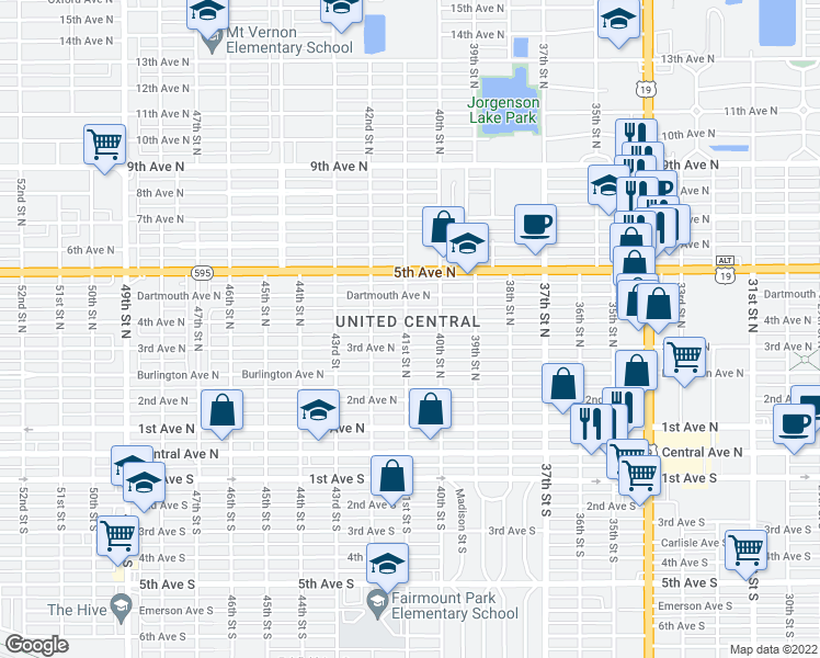 map of restaurants, bars, coffee shops, grocery stores, and more near 4110 4th Avenue North in St. Petersburg