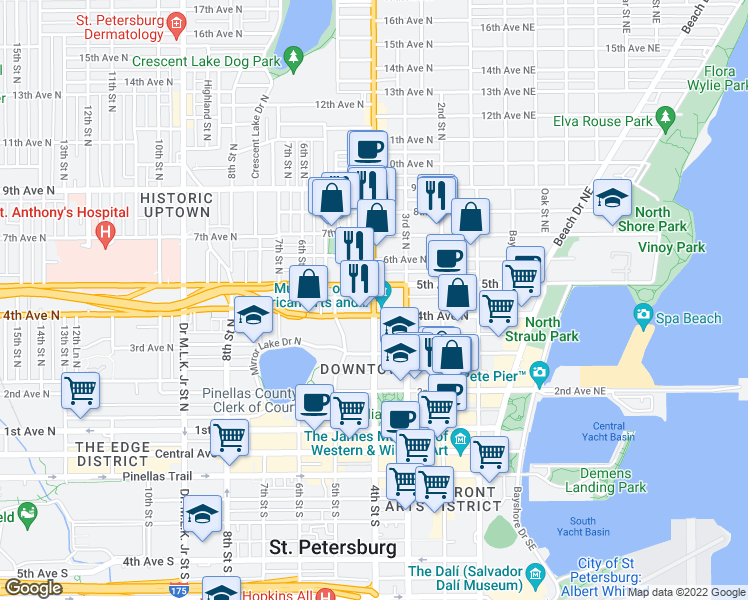 map of restaurants, bars, coffee shops, grocery stores, and more near 419 4th St N in St Petersburg