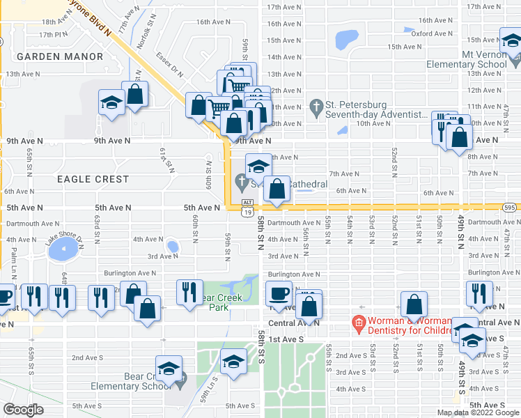 map of restaurants, bars, coffee shops, grocery stores, and more near 5th Ave N & 58th St N in St Petersburg