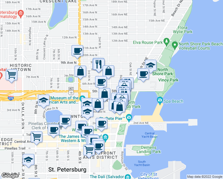 map of restaurants, bars, coffee shops, grocery stores, and more near 105 5th Ave NE in St Petersburg
