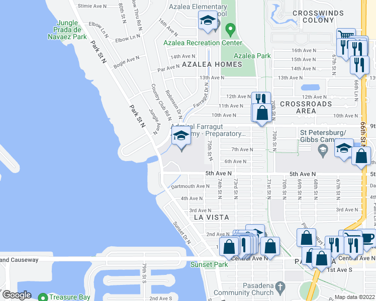map of restaurants, bars, coffee shops, grocery stores, and more near 501 Park Street North in St. Petersburg