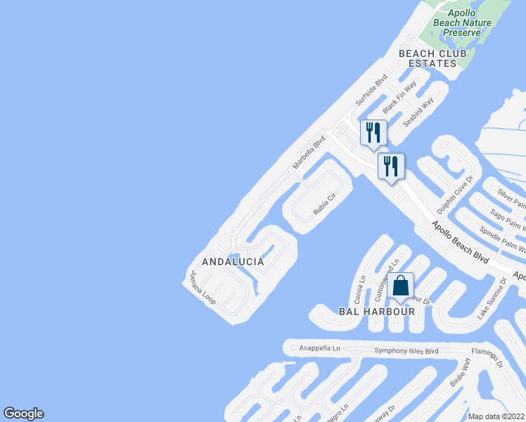map of restaurants, bars, coffee shops, grocery stores, and more near 6208 Marbella Boulevard in Apollo Beach