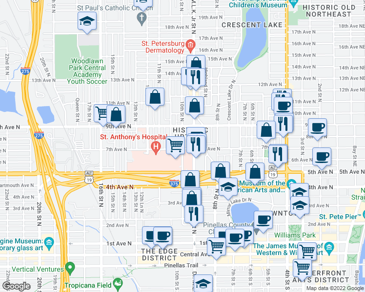 map of restaurants, bars, coffee shops, grocery stores, and more near 700 Doctor Martin Luther King Junior Street North in St. Petersburg
