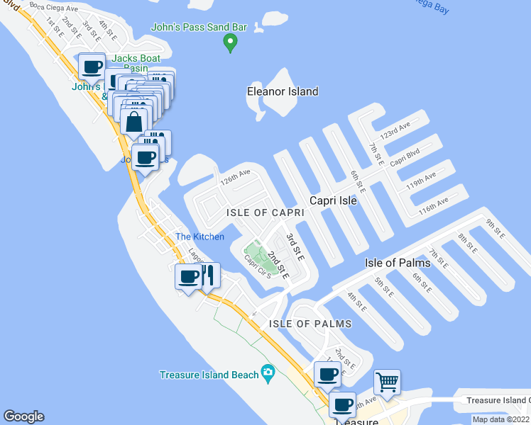 map of restaurants, bars, coffee shops, grocery stores, and more near in Treasure Island