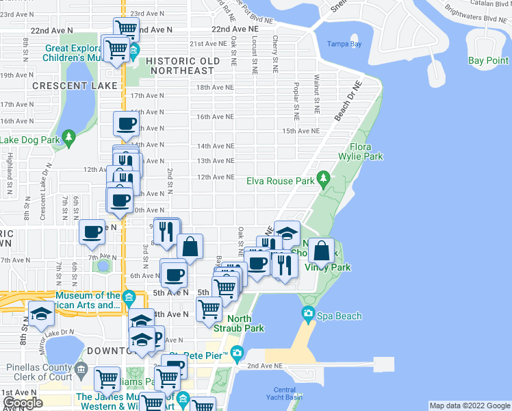 map of restaurants, bars, coffee shops, grocery stores, and more near 1056 Locust Street Northeast in St. Petersburg