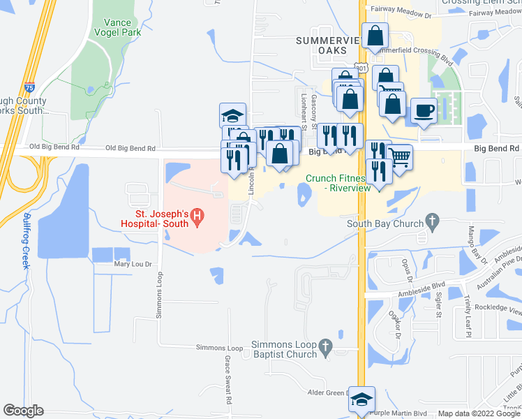 map of restaurants, bars, coffee shops, grocery stores, and more near Summer Palm Dr in Riverview