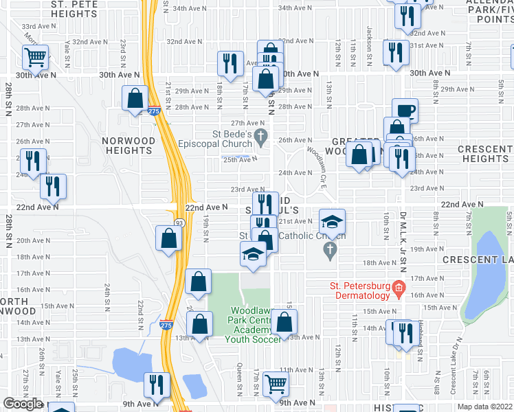 map of restaurants, bars, coffee shops, grocery stores, and more near 1650 22nd Ave N in St Petersburg