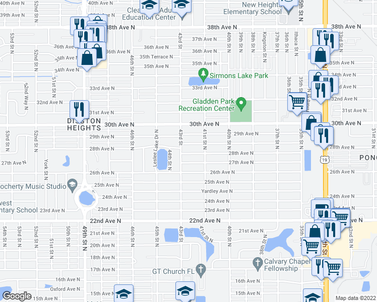 map of restaurants, bars, coffee shops, grocery stores, and more near 4119 27th Avenue North in St. Petersburg