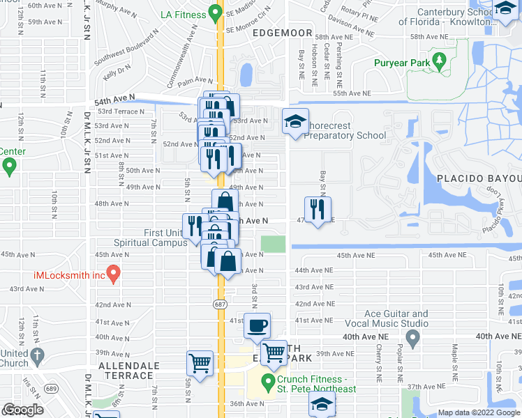 map of restaurants, bars, coffee shops, grocery stores, and more near 4801 3rd Street North in St. Petersburg