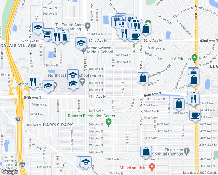 map of restaurants, bars, coffee shops, grocery stores, and more near 1228 55th Avenue North in St. Petersburg