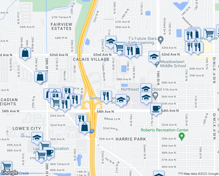 map of restaurants, bars, coffee shops, grocery stores, and more near 2045 57th Avenue North in St. Petersburg