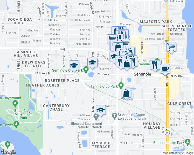 map of restaurants, bars, coffee shops, grocery stores, and more near 11500 74th Avenue in Seminole