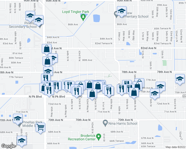 map of restaurants, bars, coffee shops, grocery stores, and more near 7786 62nd Street North in Pinellas Park