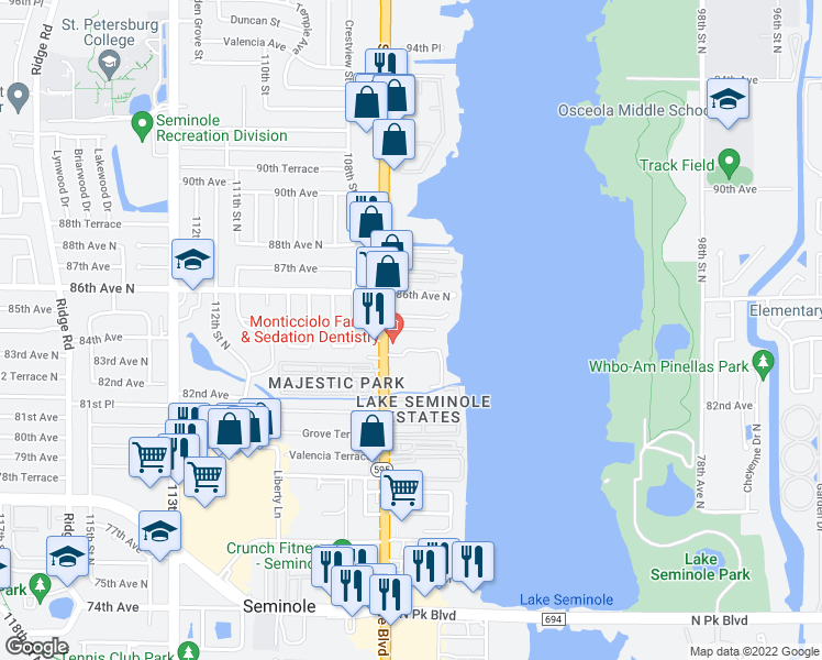map of restaurants, bars, coffee shops, grocery stores, and more near 8381 Seminole Boulevard in Seminole