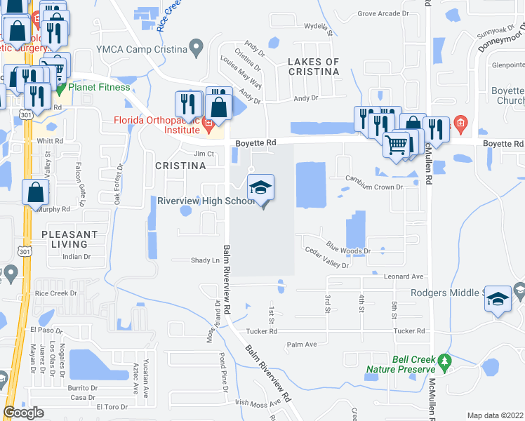map of restaurants, bars, coffee shops, grocery stores, and more near 11311 Boyette Road in Riverview