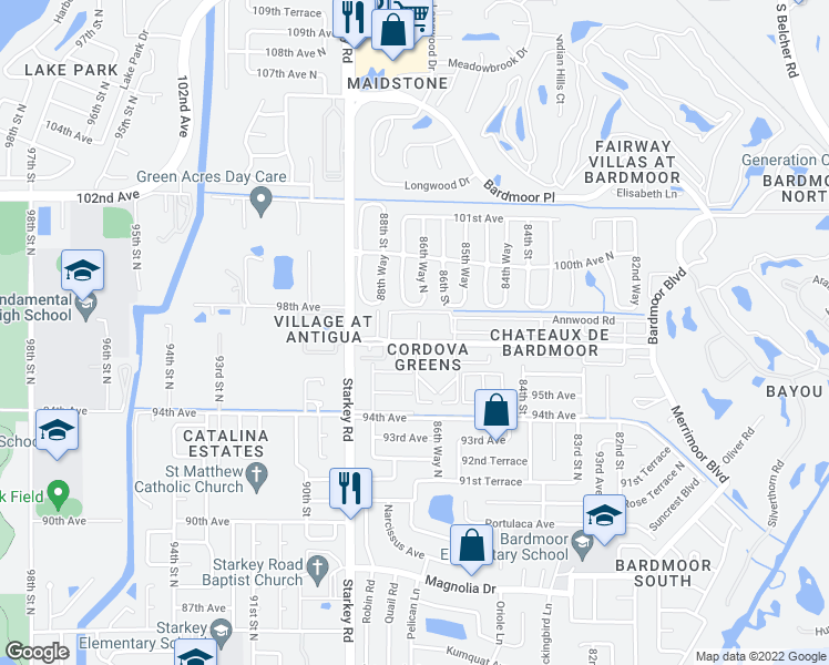 map of restaurants, bars, coffee shops, grocery stores, and more near 8699 Bardmoor Blvd in Largo