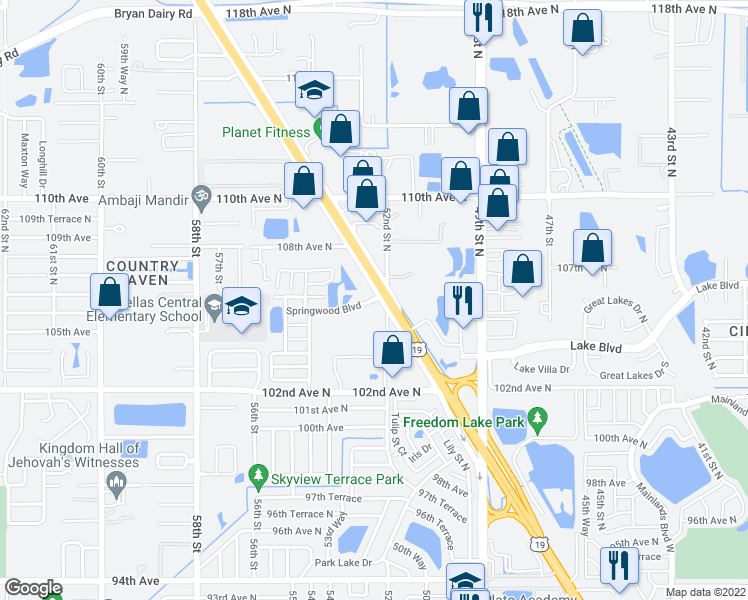map of restaurants, bars, coffee shops, grocery stores, and more near 10700 US Highway 19 North in Pinellas Park