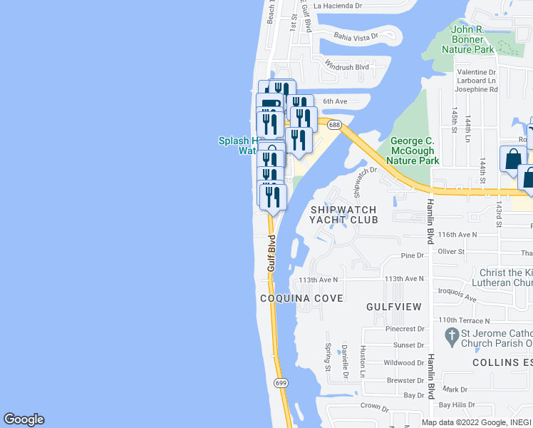 map of restaurants, bars, coffee shops, grocery stores, and more near 112 Beach Trail in Indian Rocks Beach