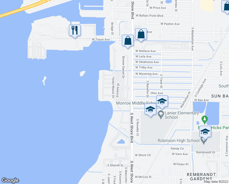 map of restaurants, bars, coffee shops, grocery stores, and more near 6007 Yeats Manor Drive in Tampa
