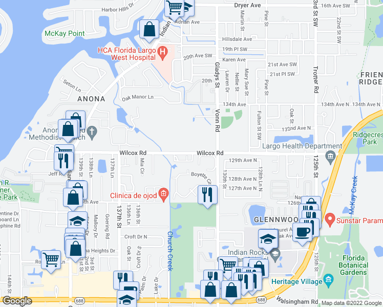 map of restaurants, bars, coffee shops, grocery stores, and more near 13200-13298 130th Avenue in Largo