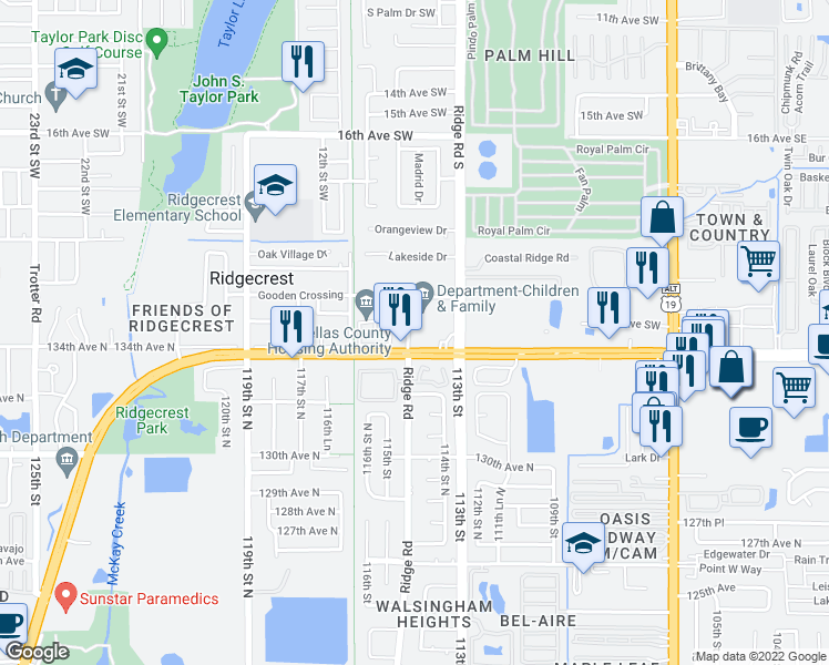 map of restaurants, bars, coffee shops, grocery stores, and more near 11351 Ulmerton Road in Largo