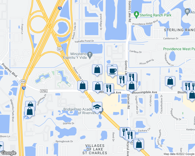 map of restaurants, bars, coffee shops, grocery stores, and more near 5959 Bandera Springs Cir in Riverview