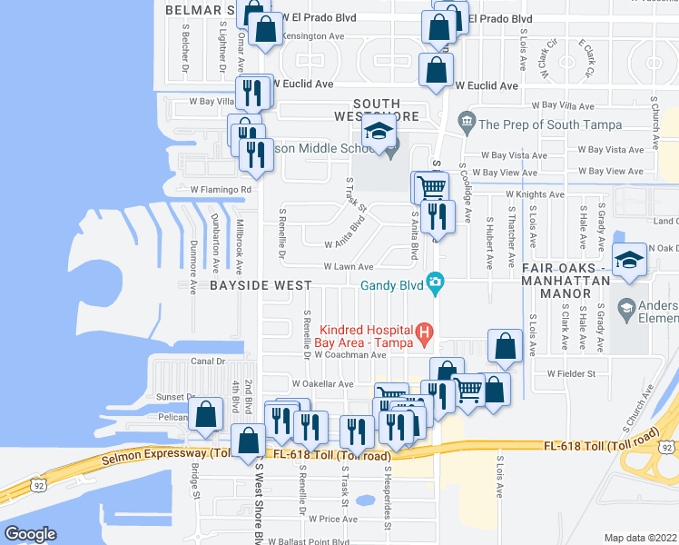 map of restaurants, bars, coffee shops, grocery stores, and more near 4704 W Lawn Ave in Tampa