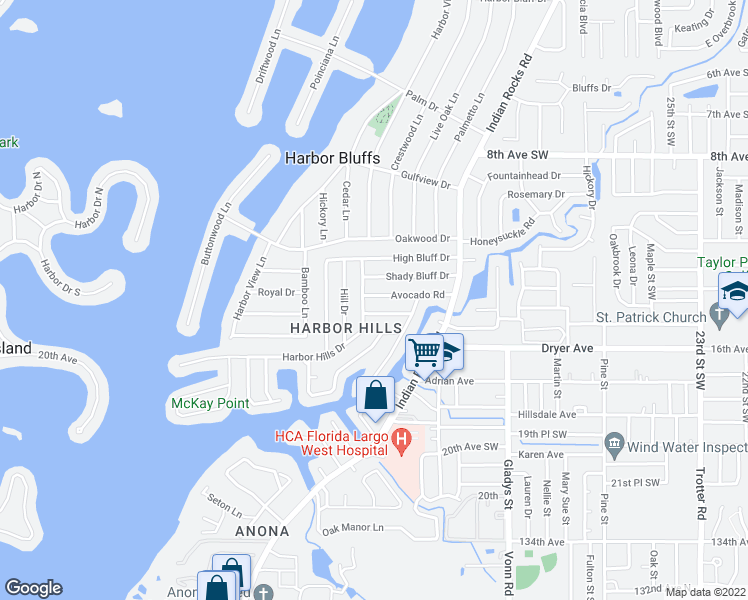 map of restaurants, bars, coffee shops, grocery stores, and more near 3774 Avocado Dr in Largo