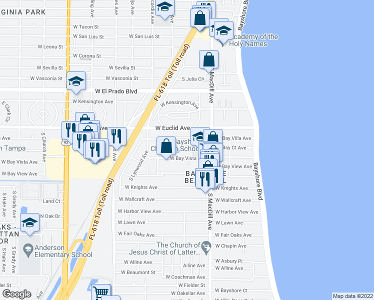 map of restaurants, bars, coffee shops, grocery stores, and more near 3116 West Bay Villa Avenue in Tampa