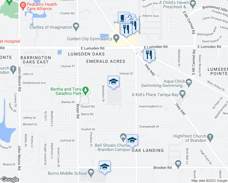 map of restaurants, bars, coffee shops, grocery stores, and more near 1405 Clubview Street in Brandon