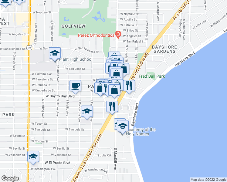 map of restaurants, bars, coffee shops, grocery stores, and more near 3100-3110 West Granada Street in Tampa