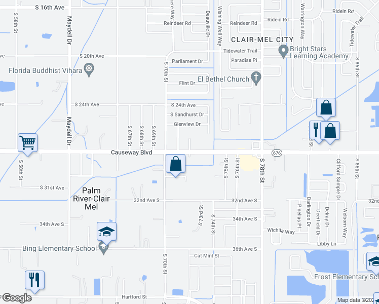 map of restaurants, bars, coffee shops, grocery stores, and more near Causeway Blvd & S 72nd St in Palm River-Clair Mel