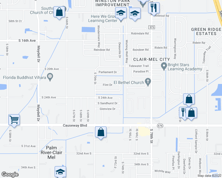 map of restaurants, bars, coffee shops, grocery stores, and more near 2060 Balfour Cir in Tampa