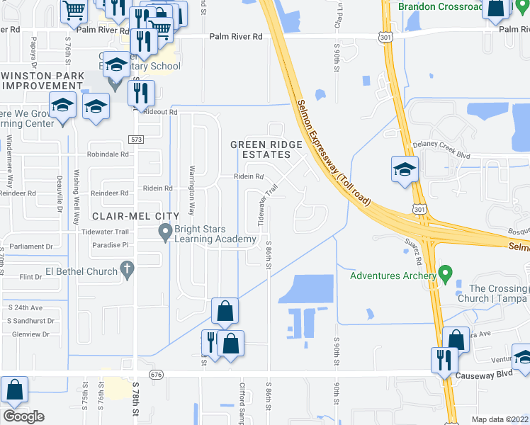 map of restaurants, bars, coffee shops, grocery stores, and more near 1808 S 86th St in Tampa