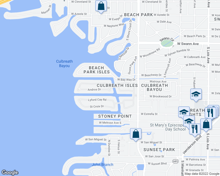 map of restaurants, bars, coffee shops, grocery stores, and more near Culbreath Isles Dr & Andros Dr in Tampa