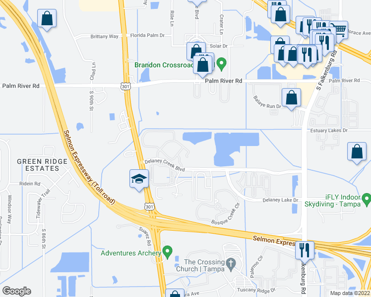map of restaurants, bars, coffee shops, grocery stores, and more near 1207 High Hammock Drive in Tampa