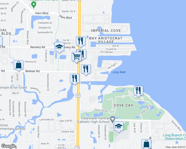 map of restaurants, bars, coffee shops, grocery stores, and more near 2713 Via Murano in Clearwater