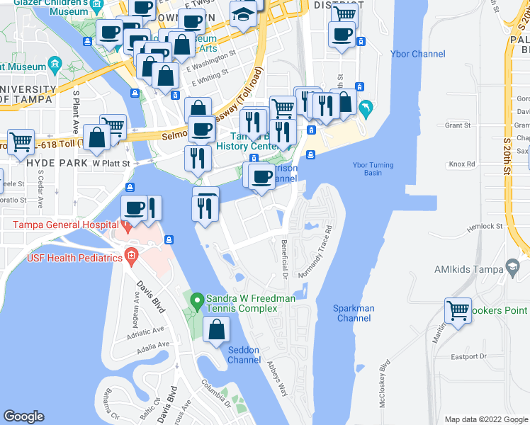 map of restaurants, bars, coffee shops, grocery stores, and more near 302 Harbour Place Drive in Tampa