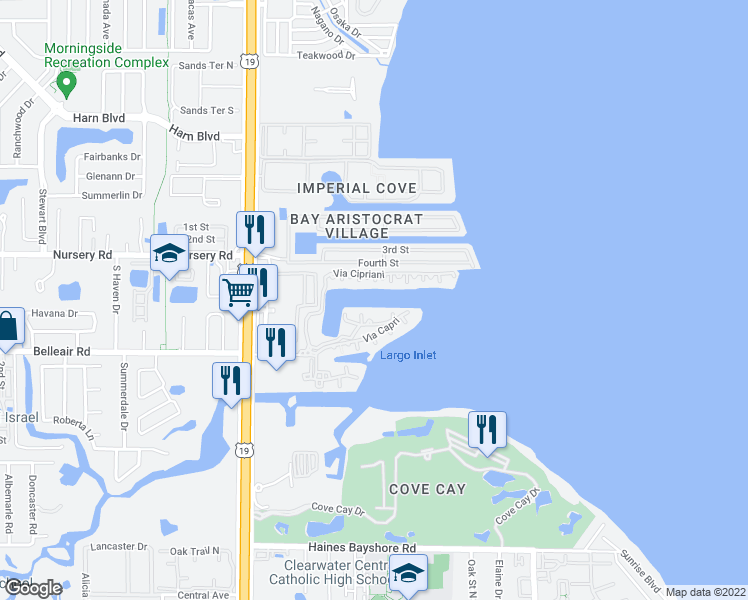 map of restaurants, bars, coffee shops, grocery stores, and more near 2709 Via Cipriani in Clearwater