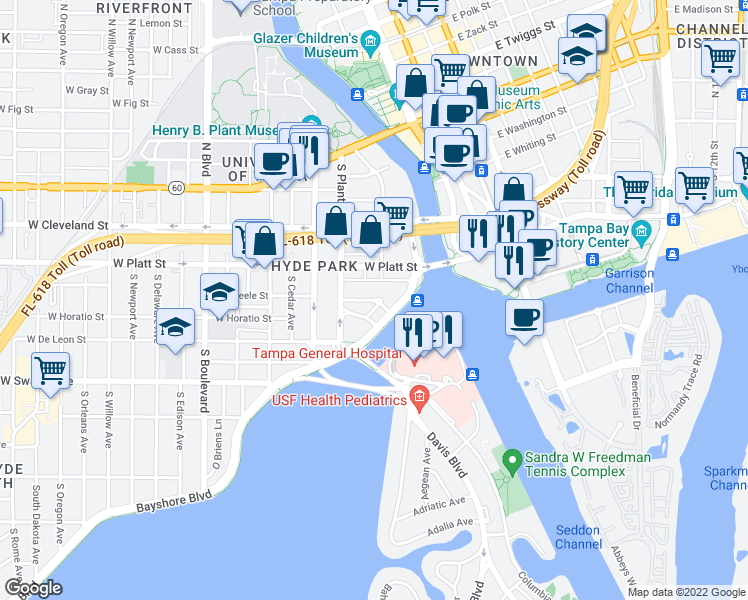 map of restaurants, bars, coffee shops, grocery stores, and more near 207 W Beach Pl in Tampa