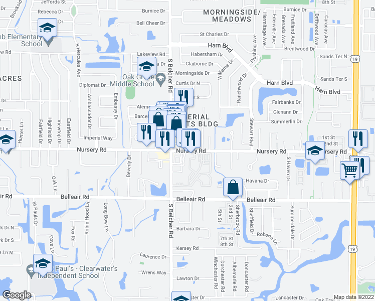 map of restaurants, bars, coffee shops, grocery stores, and more near 2241 Nursery Road in Clearwater