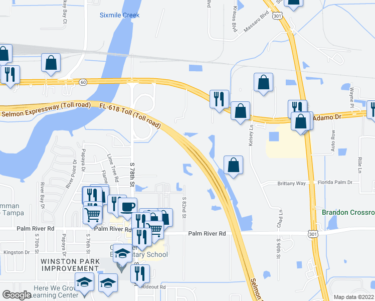map of restaurants, bars, coffee shops, grocery stores, and more near 1217-1231 Selmon Expressway in Tampa
