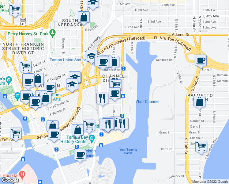 map of restaurants, bars, coffee shops, grocery stores, and more near E Washington St & N 12th St in Tampa
