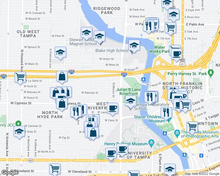 map of restaurants, bars, coffee shops, grocery stores, and more near 1006 West Arch Street in Tampa